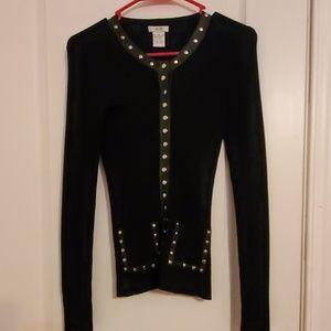 Caché Black Elegsnt Long Sleeve Blouse Jacket